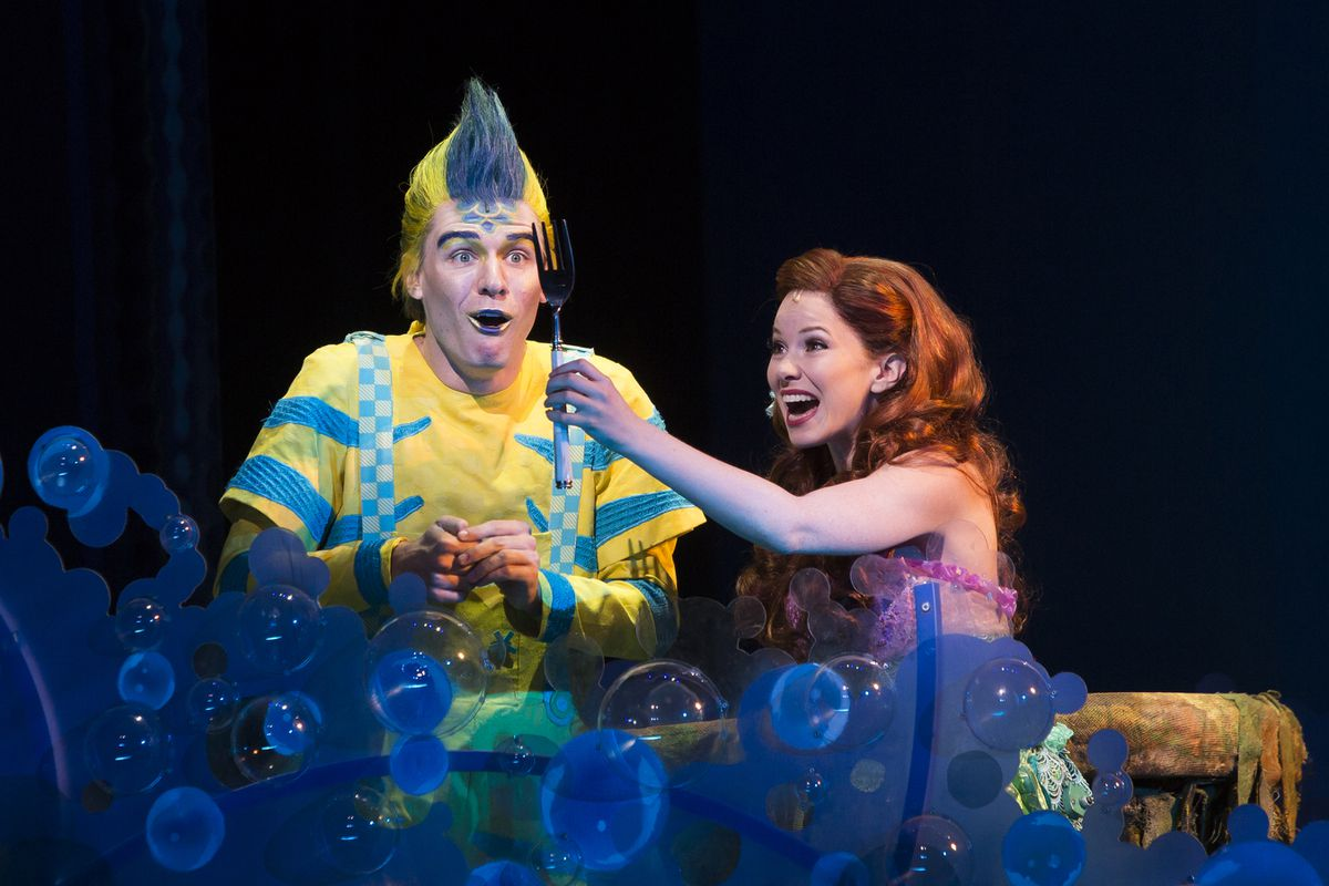 Adam Garst as Flounder and Alison Woods as Ariel in