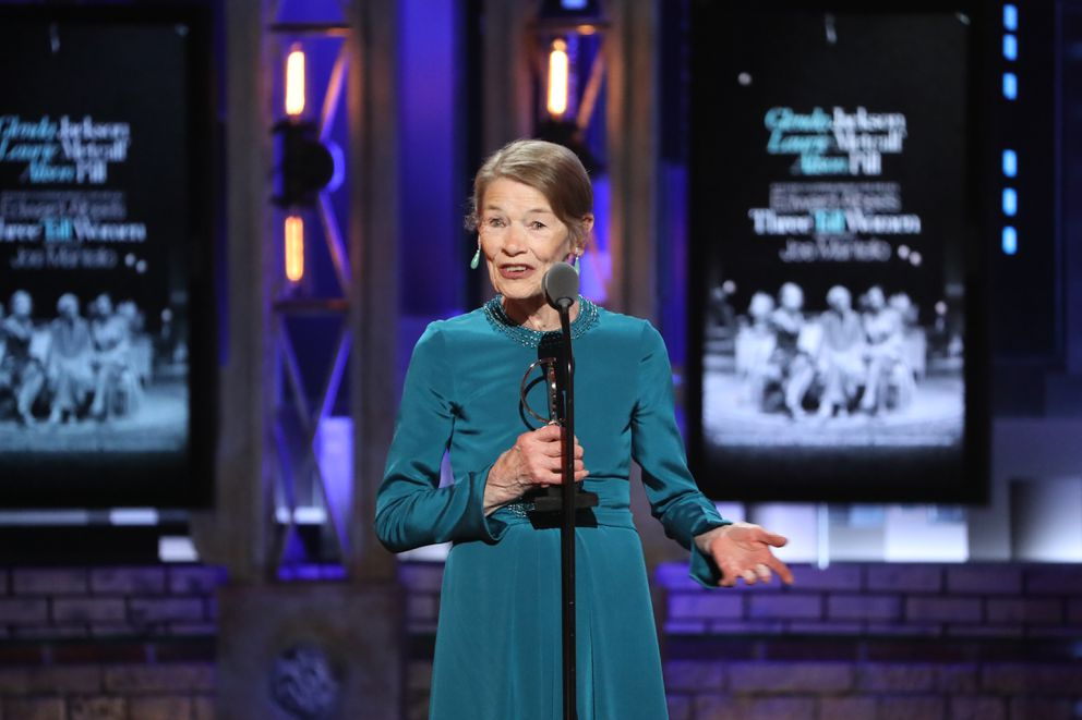 "Glenda Jackson accepts the award for best performance by an actress in a leading role in a play for ""Edward Albee's Three Tall Women,"" at the 72nd Annual Tony Awards at Radio City Music Hall in New York, June 10, 2018. (Sara Krulwich/The New York Times)"