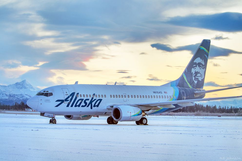An Alaska Airlines jetliner was damaged on the left engine cowl after it struck a brown bear after landing at the Yakutat Airport on Saturday, Nov. 15, 2020. (Photo by R E Johnson)