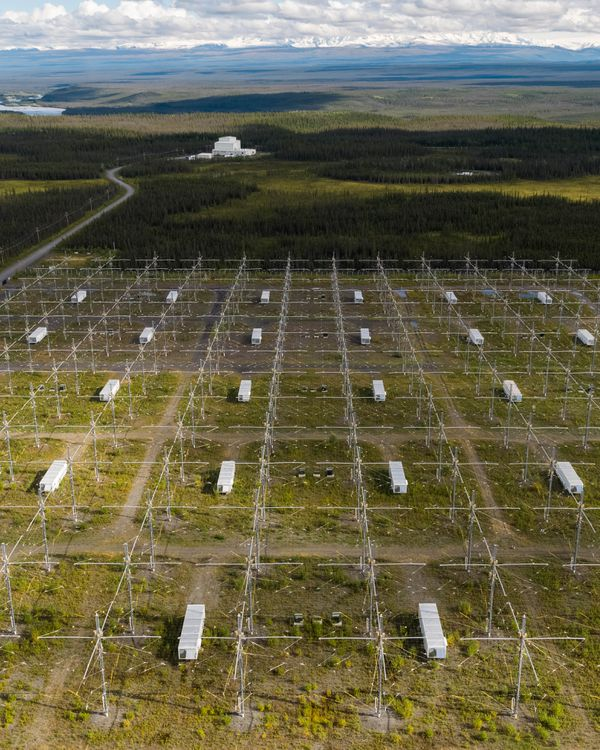 The Ionospheric Research Instrument (IRI), foreground, and the control building, background, at the High-frequency Active Auroral Research Program (HAARP) facility in Gakona, Alaska on Saturday. (Loren Holmes / ADN)