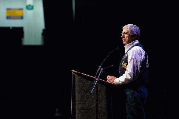 Alaska Lt. Governor Byron Mallott speaks at the Elders and Youth Conference at the Carlson Center in Fairbanks on Tuesday, Oct. 18, 2016. (Loren Holmes / Alaska Dispatch News)