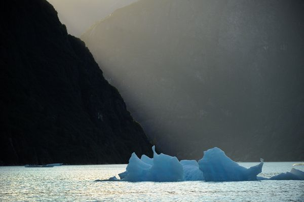 An iceberg floats along the steep walls of Tracy Arm in the Tongass National Forest. (Bob Hallinen / ADN)