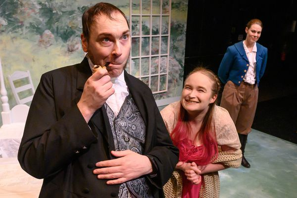 Scott Rhode as Mr. Elton and Madeline Klever in Cyrano's Theatre Company's production of