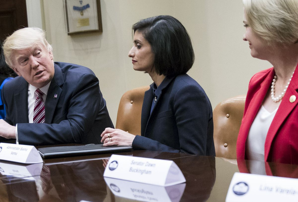"FILE– President Donald Trump during a ""Women in Healthcare"" panel, hosted by Seema Verma, center, administrator of the Centers for Medicare and Medicaid Services, at the White House in Washington, March 22, 2017. (Doug Mills/The New York Times)"