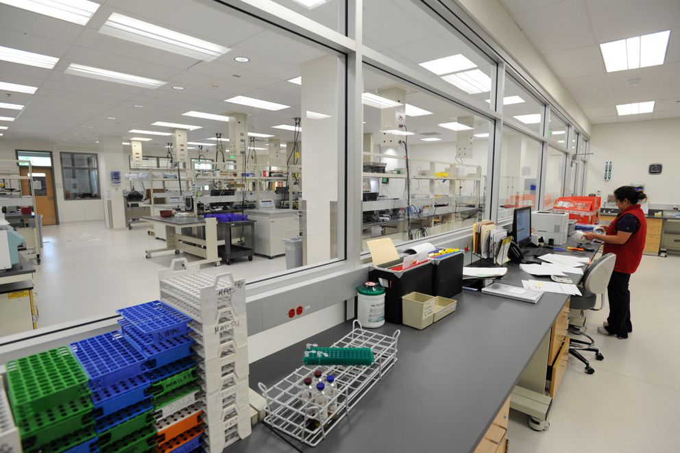 Blood is processed in the Quality Control Lab, foreground, and the Components Lab on Monday, August 8, 2016, at the Blood Bank of Alaska building in east Anchorage. (Erik Hill / Alaska Dispatch News)