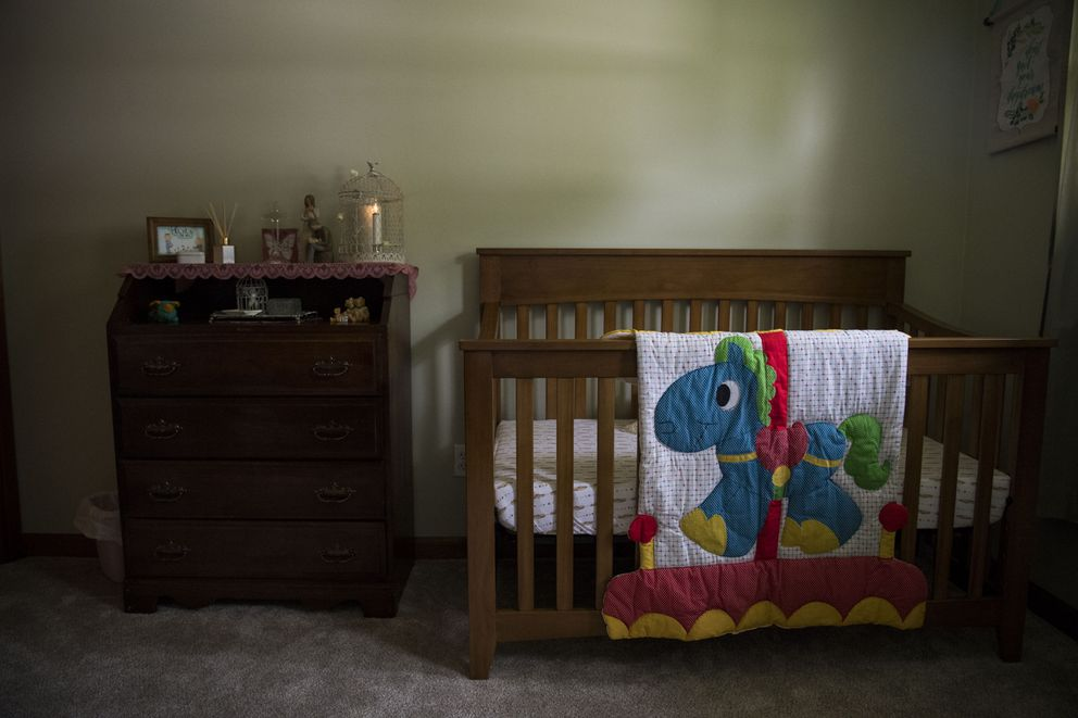 Kate Plants had prepared a nursery in her Brook Parks, Ohio, home and was expecting to use the banked embryos to attempt pregnancy. Washington Post photo by Carolyn Van Houten.