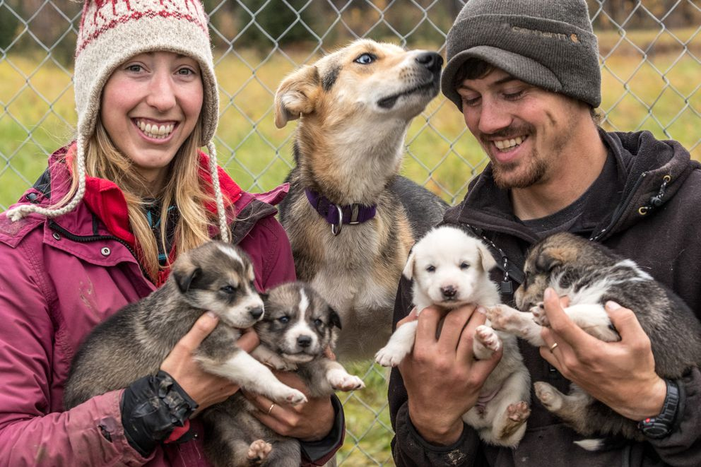 Traska and her husband, Jeremy, with lead dog Lhotse and her pups, several of which will likely be on Traska's Iditarod team. (Photo by Gottfried Esch) ONE TIME USE
