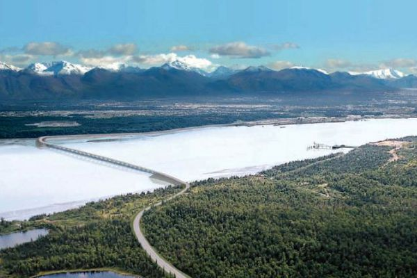 An artist's rendering of the proposed Knik Arm crossing connecting Anchorage and the Mat-Su.