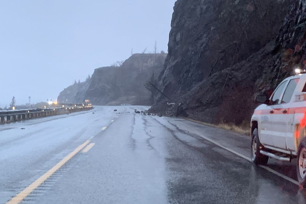 Several rockslides have deposited rocks and debris on the Seward Highway near McHugh Creek and Windy Corner, Monday, Dec. 9, 2019. (Photo by Robin Farmer)