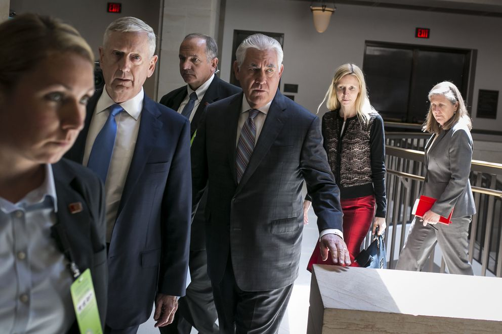 Defense Secretary Jim Mattis, second from left, and Secretary of State Rex Tillerson on Capitol Hill in Washington, Aug. 2, 2017. (Al Drago/The New York Times file)