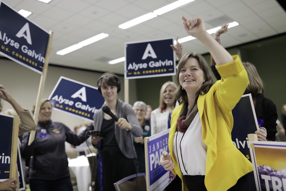 Alyse Galvin celebrates her primary win at Election Central, Aug. 21, 2018. (Loren Holmes / ADN)