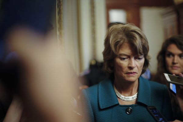 Sen. Lisa Murkowski, R-Alaska, pauses while speakings to members of the media after a vote to advance Brett Kavanaugh's nomination to the Supreme Court, on Capitol Hill, Friday, Oct. 4, 2018. (AP Photo/Pablo Martinez Monsivais)