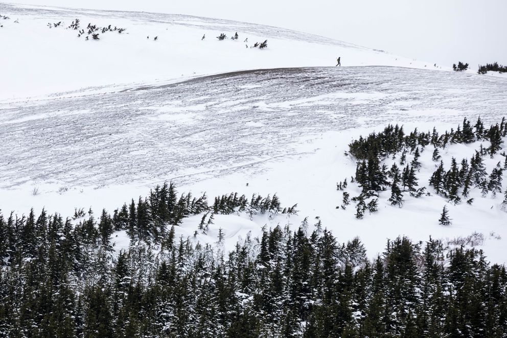 A person hikes along Blueberry Hill near Flattop in Chugach State Park on Wednesday, Feb. 20, 2019. (Loren Holmes / ADN)