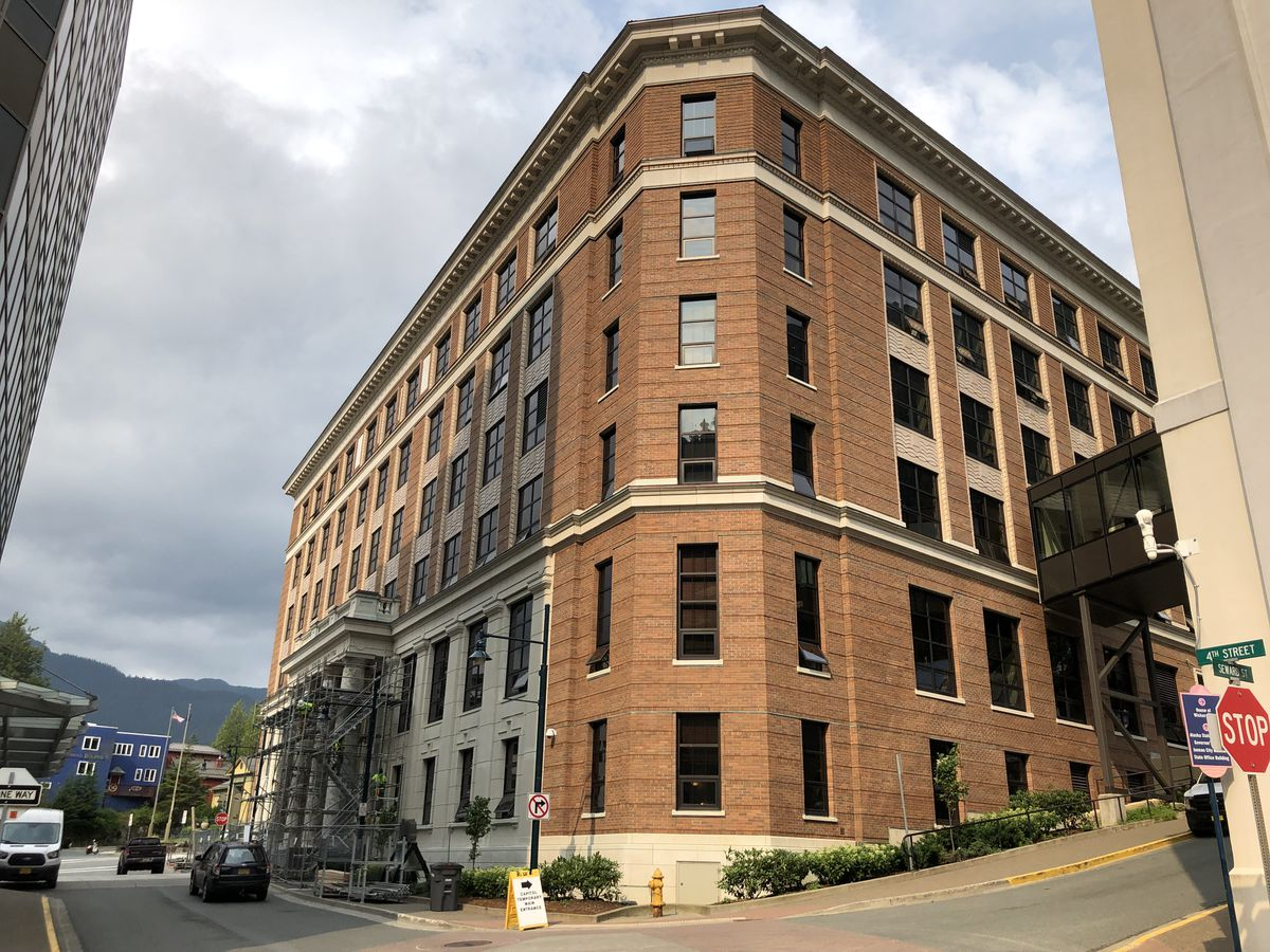 The Alaska State Capitol in Juneau is seen on Thursday, July 11, 2019. (James Brooks / ADN)