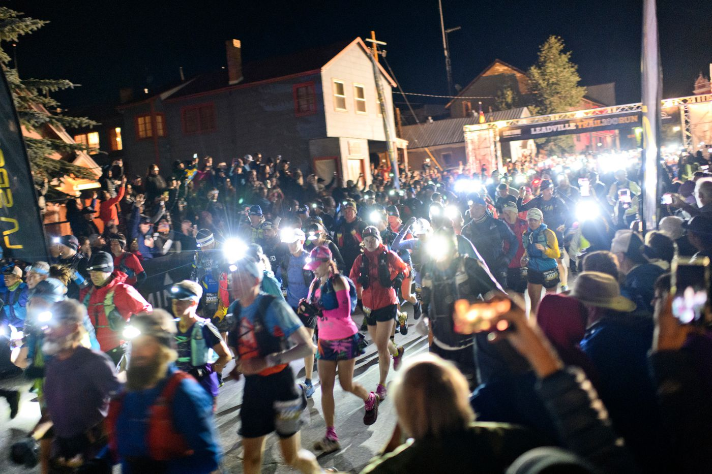 Racers leave the starting line of the Leadville Trail 100 Run at 4 a.m. in Leadville, Colorado, on August 17, 2019. (Marc Lester / ADN)
