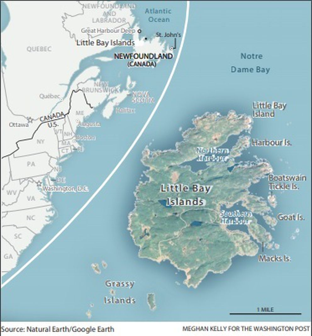Map of the Little Bay Islands in Newfoundland, Canada (Map from The Washington Post)