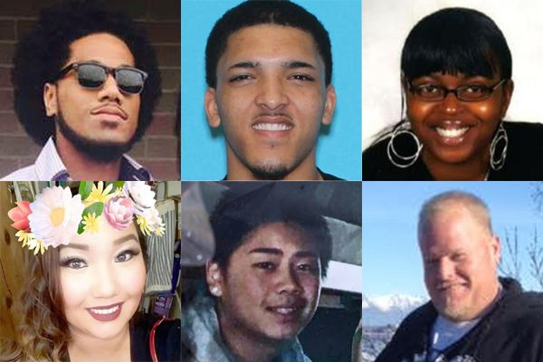 Six of 28 homicide victims from Anchorage in 2018. Upper left - Sosaia Finau, upper middle - Jaymes Bradley, upper right - Brittney Sparks, lower left - Jenna Delkittie, lower middle - Raynaldo Khotesouvan, lower right - Michael Greco.
