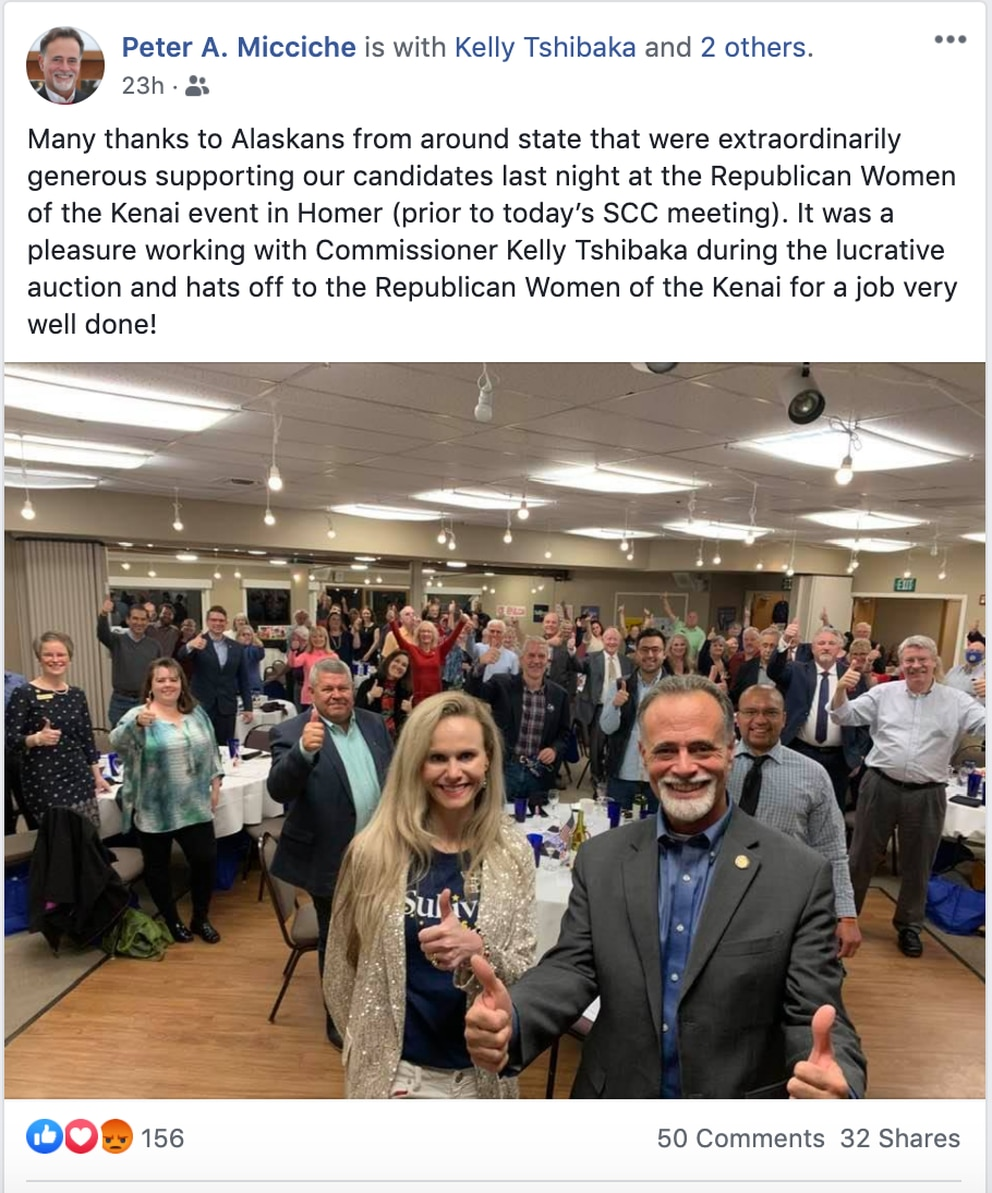 A Facebook post by Sen. Peter Micciche shows Commissioner of Administration Kelly Tshibaka and other Alaska Republicans gathered in Homer on Friday.
