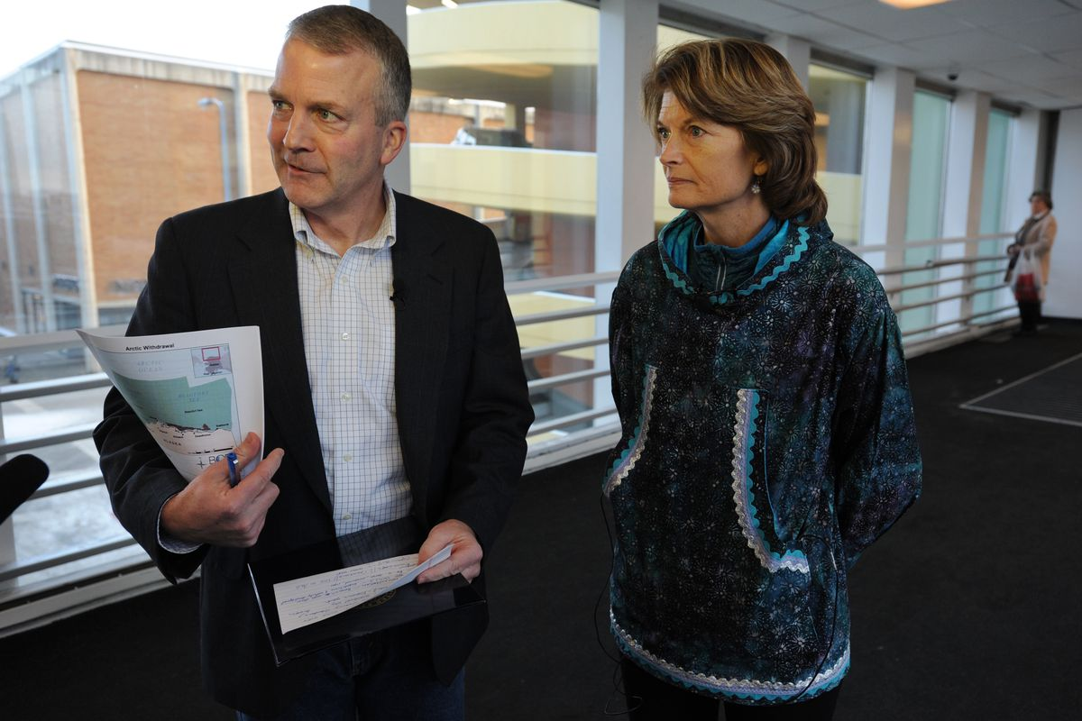 U.S. Sens. Dan Sullivan and Lisa Murkowski, R-Alaska, in Anchorage on Dec. 20. (Bill Roth / ADN archive 2016)