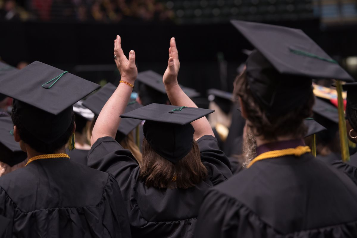 UAA's 2019 Spring Commencement at the Alaska Airlines Center. (Photo by James Evans / UAA)