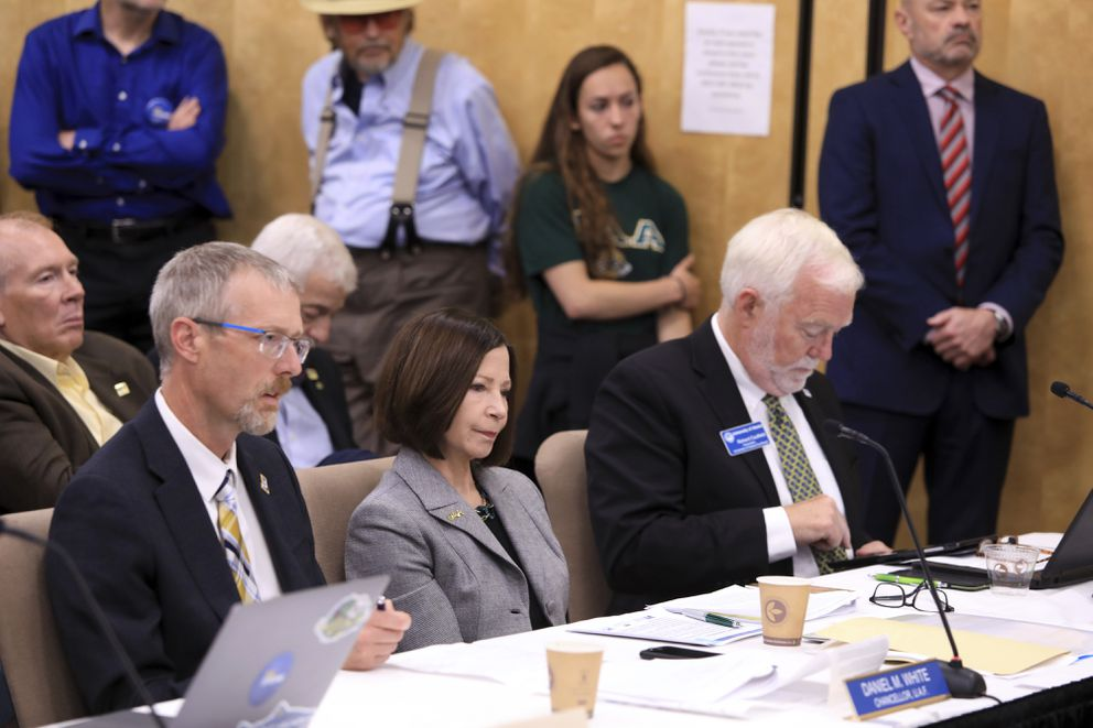 From left, University of Alaska Fairbanks Chancellor Daniel White, UA Anchorage Chancellor Cathy Sandeen and UA Southeast Chancellor Rick Caulfield speak at a UA Board of Regents meeting, Tuesday, July 30, 2019, in Anchorage. (AP Photo/Dan Joling)