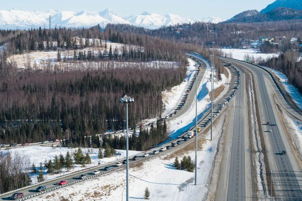 Traffic is backed up on the southbound Glenn Highway Thursday, March 22, 2018. (Loren Holmes / ADN)
