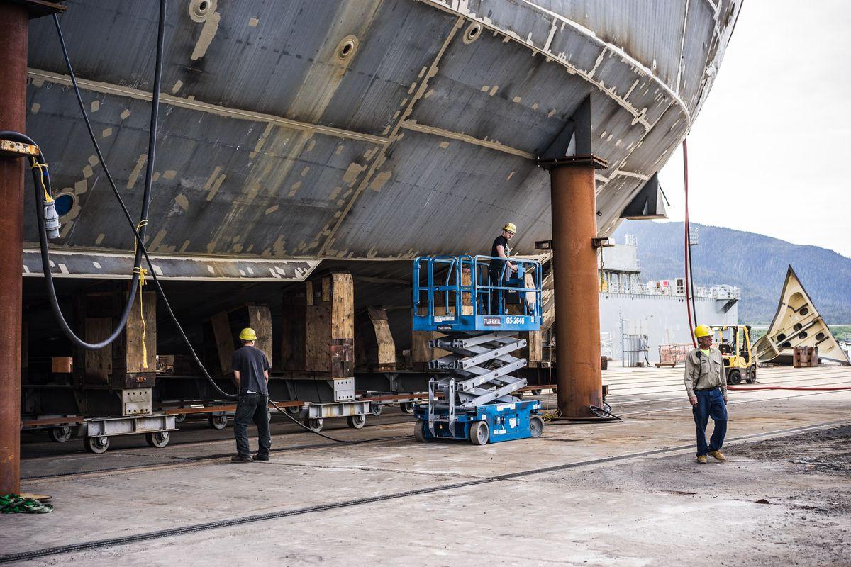 Vigor Alaska employees work on the new Alaska ferryTazlina, May 30, 2017. (Photo provided by Vigor Alaska)