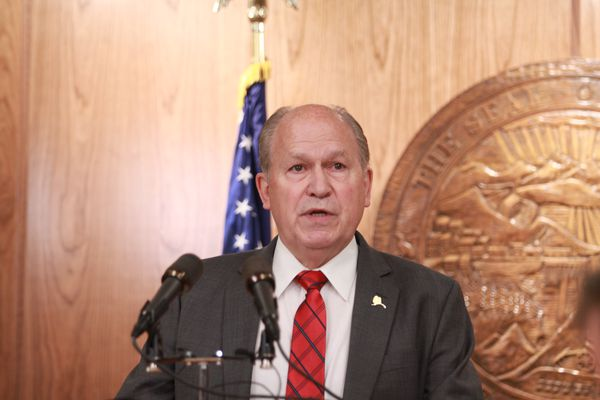 Alaska Gov. Bill Walker speaks at a news conference at his office in the Capitol on Friday, June 16, 2017, after he called the Legislature into a second special session the same day the first one concluded. (Nathaniel Herz / Alaska Dispatch News)