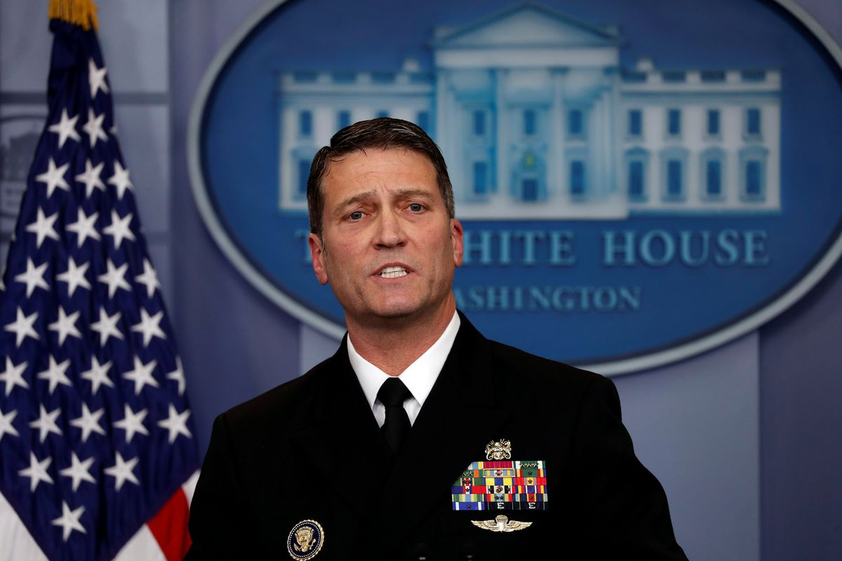 White House presidential physician Ronny Jackson answers questions Tuesday about President Donald Trump's health during a briefing at the White House. REUTERS/Carlos Barria