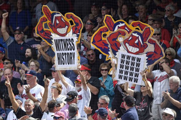 Sep 13, 2017; Cleveland, OH, USA; Fans hold signs in the first inning of a game between the Cleveland Indians and the Detroit Tigers at Progressive Field. Mandatory Credit: David Richard-USA TODAY Sports
