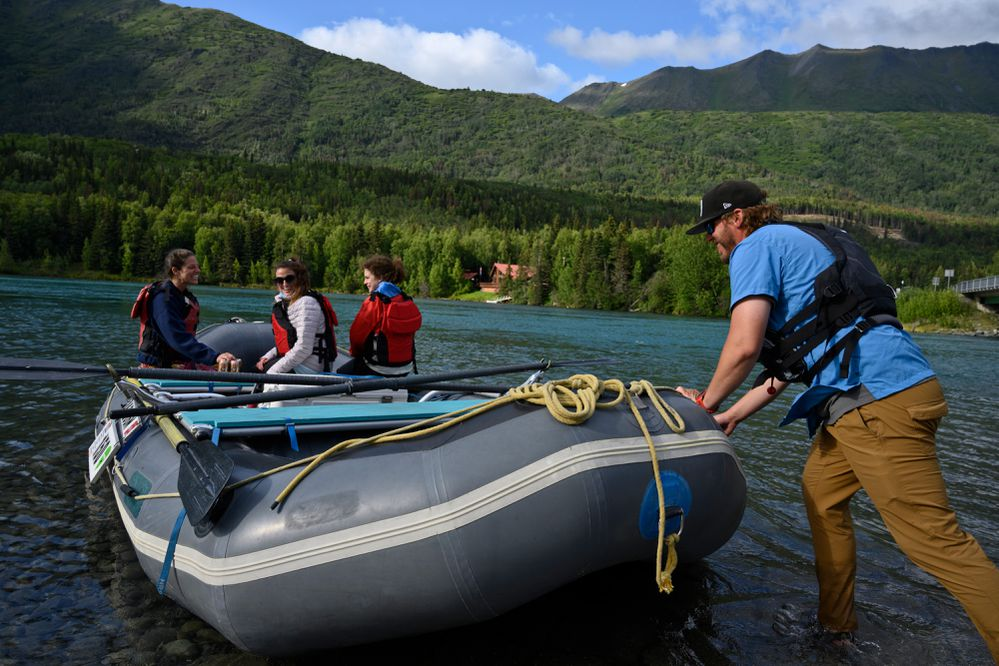 Austin Klopstein, a river guide for Alaska River Adventures, takes clients for a float on the Kenai on July 30, 2020. Klopstein also served as an operations coordinator for Cooper Landing Emergency Services during the Swan Lake Fire. (Marc Lester / ADN)