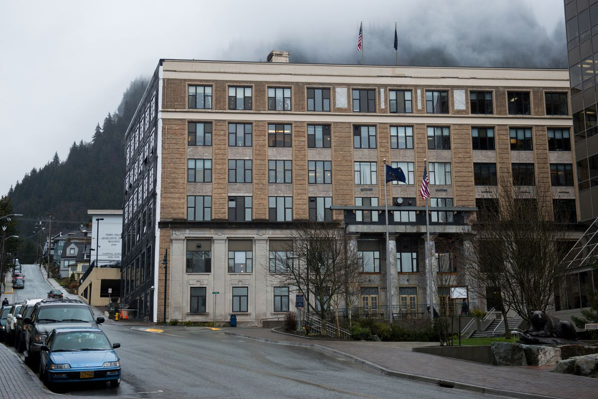 The front of State Capitol in Juneau on Friday, April 17, 2015. (Marc Lester / Alaska Dispatch News)