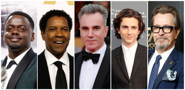 Best actor nominees (L-R) Daniel Kaluuya, Denzel Washington, Daniel Day-Lewis, Timothee Chalamet and Gary Oldman. REUTERS/Staff/File Photos