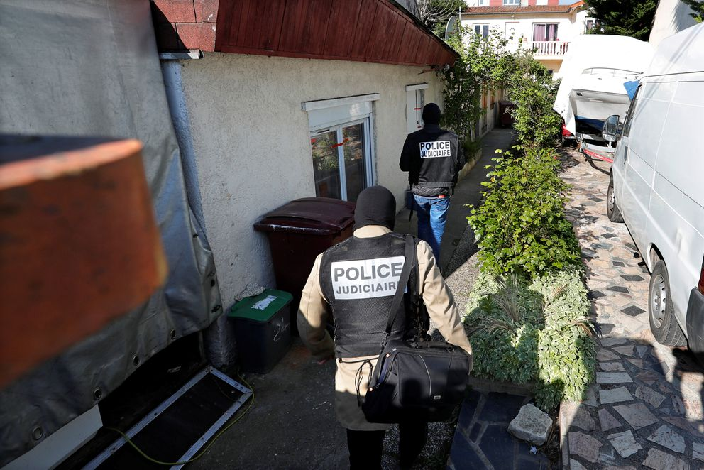 French police arrive at the house of the gunman killed in a shootout with police on the Champs Elysees, in the Paris suburb of Chelles, April 21, 2017. REUTERS/Charles Platiau
