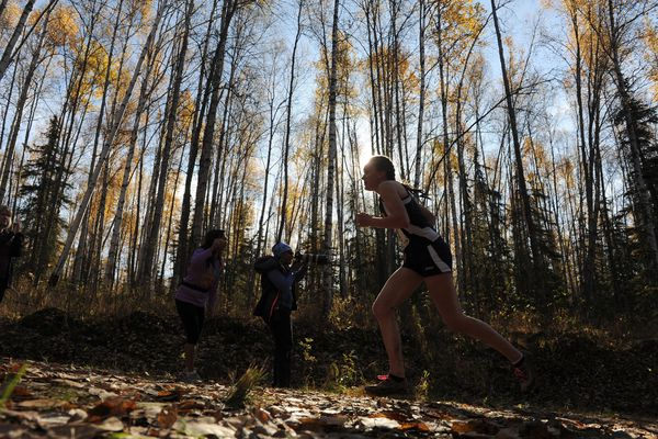 Runners compete in the Division I and II State Cross Country Championships at Bartlett High School in Anchorage, Alaska on Saturday, Sept. 30, 2017. (Bob Hallinen / Alaska Dispatch News)