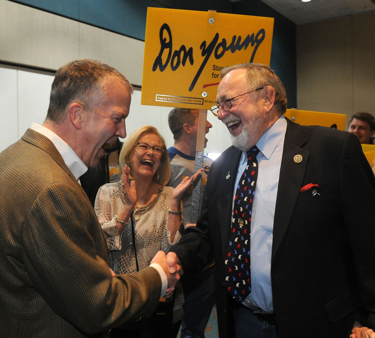 US Sen. Dan Sullivan congratulates US Rep. Don Young at Election Central in the Egan Center in downtown Anchorage on Tuesday. Young won reelection, defeating Alyse Galvin. (Bob Hallinen / ADN)