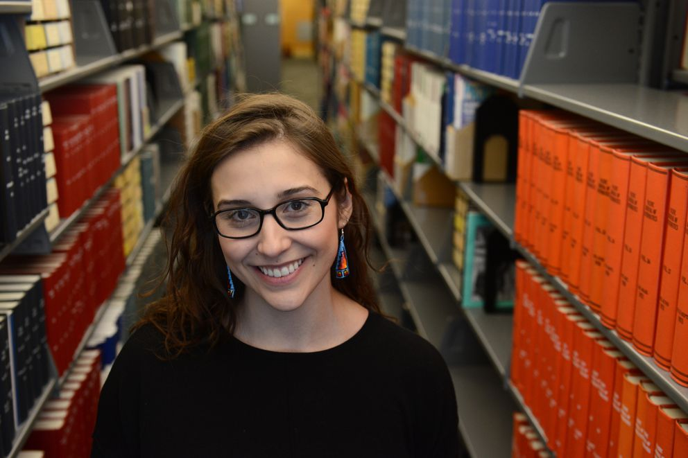 UAA student Samantha Mack who has received a Rhodes Scholarship poses in the Consortium Library on the campus in Anchorage, Alaska on Tuesday, Nov. 21, 2017. (Bob Hallinen / ADN)