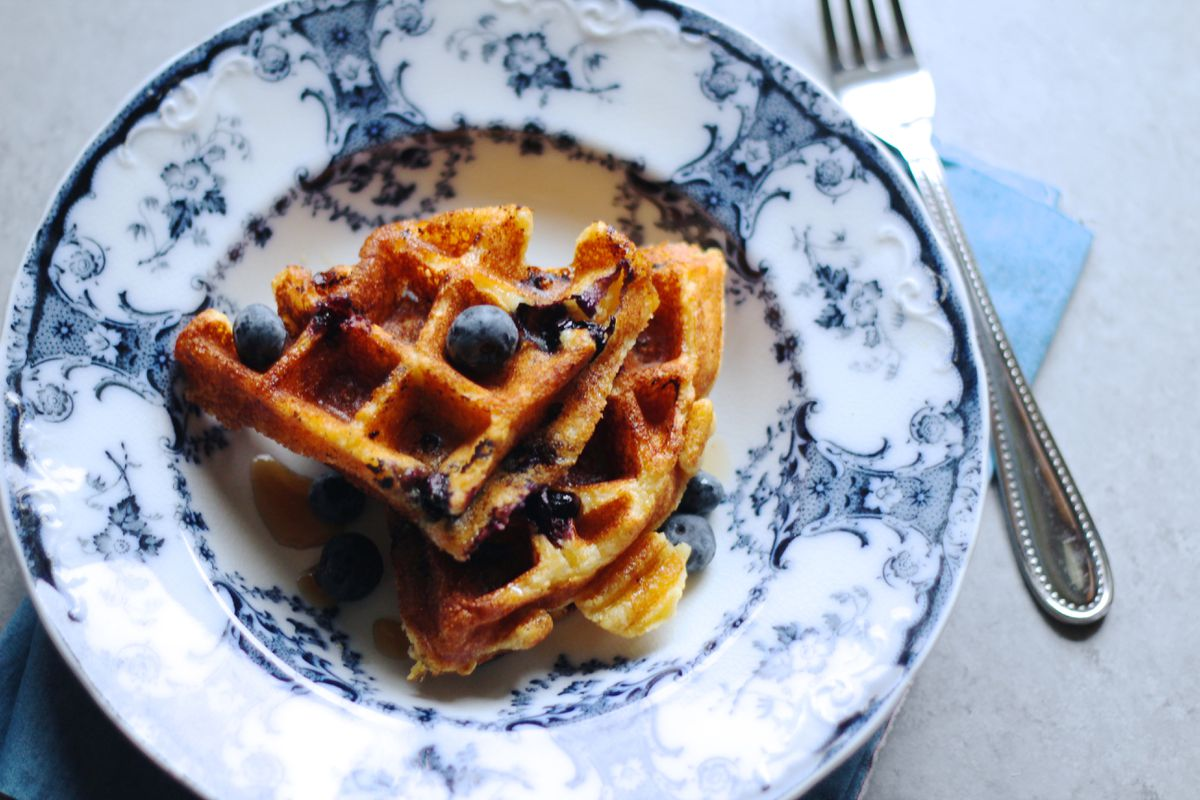 Blueberry buttermilk cornmeal waffles (Maya Wilson / Alaska from Scratch)