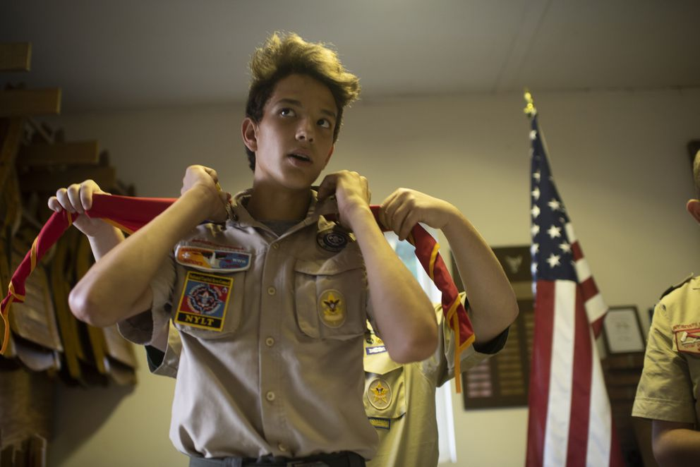 Alex Contreras, 14, of Troop 270 gets ready for a meeting last month in Thurmont, Md. (Washington Post photo by Marvin Joseph)