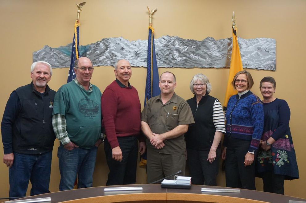 Homer City Council members, from left, Tom Stroozas, David Lewis, Mayor Bryan Zak, Heath Smith, Shelly Erickson, Donna Aderhold and Catriona Reynolds (City of Homer)