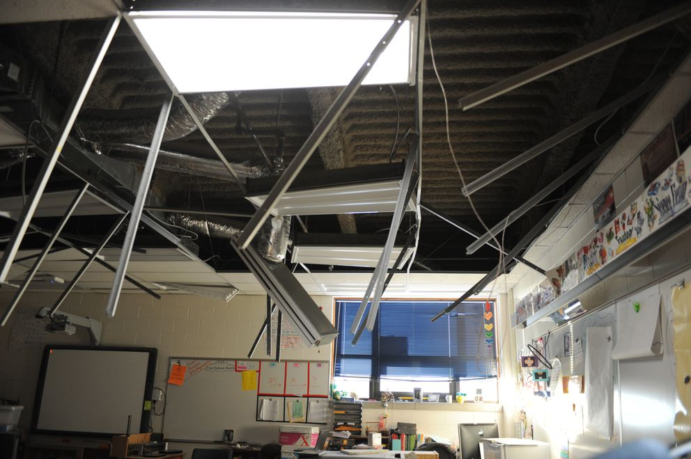 Ceilings in some classrooms at Hanshew Middle School failed during the Nov. 30 earthquake. Photographed Dec. 1, 2018. (Anne Raup / ADN)