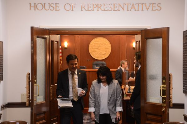 Rep. Neal Foster, D-Nome, talks with House Minority Leader Cathy Tilton, R-Wasilla, as they leave the Alaska House of Representatives chambers on Tuesday, June 1, 2021 at the Alaska State Capitol in Juneau. (James Brooks / ADN)