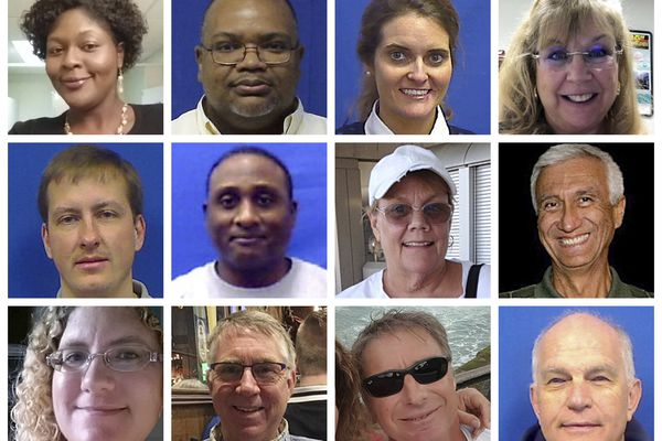 This combination of photos provided by the City of Virginia Beach on Saturday, June 1, 2019 shows victims of Friday's shooting at a municipal building in Virginia Beach, Va. Top row from left are Laquita C. Brown, Ryan Keith Cox, Tara Welch Gallagher and Mary Louise Gayle. Middle row from left are Alexander Mikhail Gusev, Joshua A. Hardy, Michelle