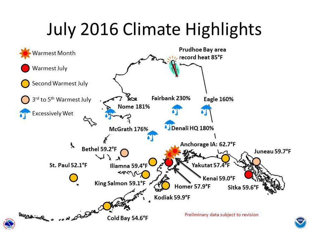 This graphic prepared by the National Weather Service in Alaska shows record-breaking and near record-breaking temperatures across Southern Alaska and intense rainfall in the Interior (NWS Alaska).