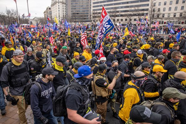 Proud Boys during a rally for Trump in Washington on Dec. 12. MUST CREDIT: photo for The Washington Post by Evelyn Hockstein.