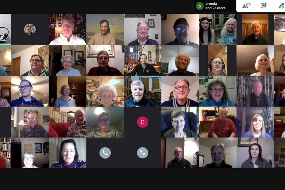 The Anchorage Concert Chorus gathers virtually on Monday, Nov. 23, 2020. There were 71 people on the GoogleMeet call, but only 45 show on a screen at a time. (Screenshot by Becky Oberrecht)