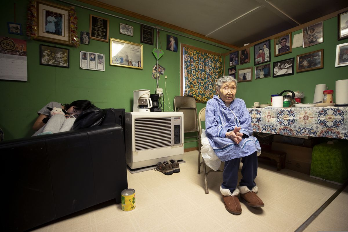 Lizzie Chimiugak on Monday at her home in Toksook Bay. Chimiugak, who turned 90 years old on Monday, is to be the first person counted in the 2020 U.S. census on Tuesday. (AP Photo/Gregory Bull)