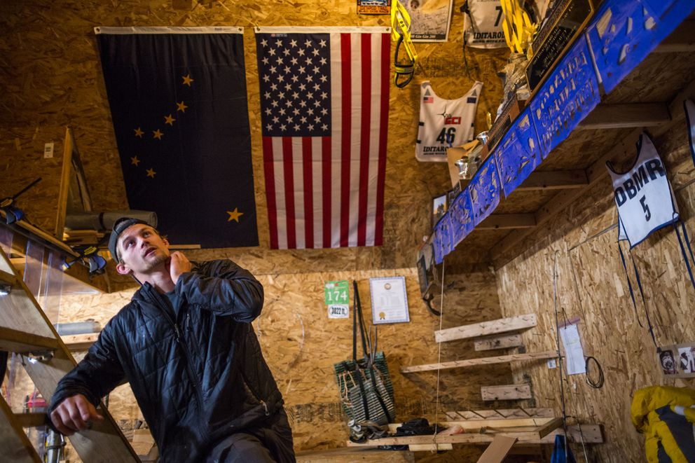 Musher Dallas Seavey with his awards inside his work shed at his kennel in Willow in 2015.  (Loren Holmes / Alaska Dispatch News)