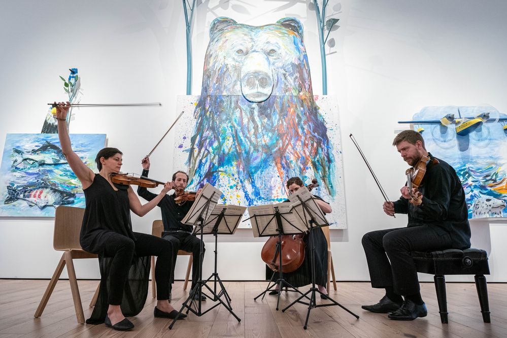 The Ariel Quartet performs a Beethoven string quartet during a Sitka Music Festival Winter Classics concert Thursday, Feb. 6, 2020 at the Anchorage Museum. Behind the musicians is the Alvin Amason piece
