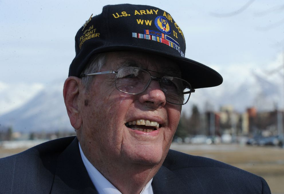George Miller received a Distinguished Flying Cross during a presentation at the Anchorage Veterans Memorial on Monday, April 29, 2013, 68-years after Miller earned the medal while on a bombing mission over Austria in a B-24 Liberator during World War II. (Bill Roth / ADN)